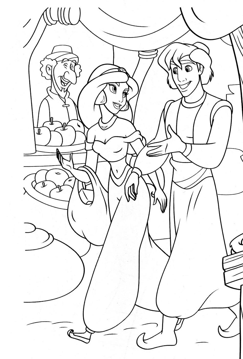 Раскраски Аладдин и Жасмин | Мультики Дисней
