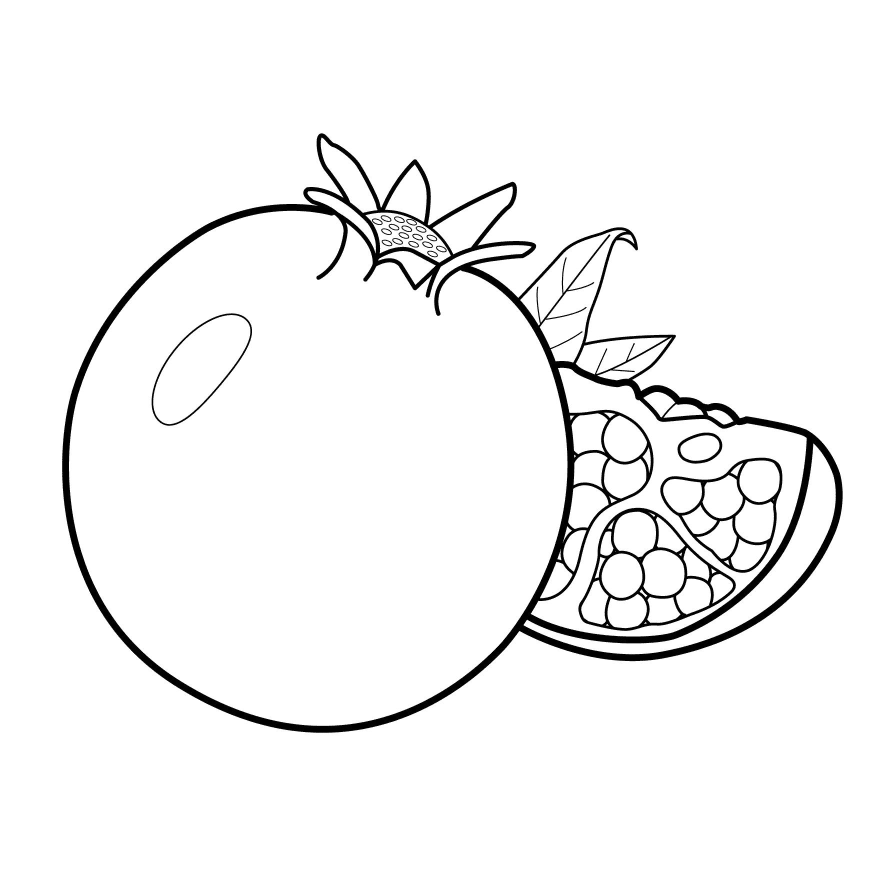 Раскраска Гранат | Овощи и фрукты