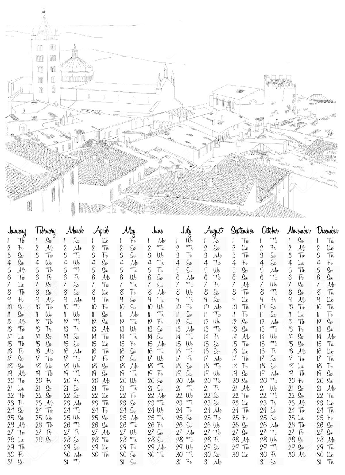 Раскраска календарь | Интересные