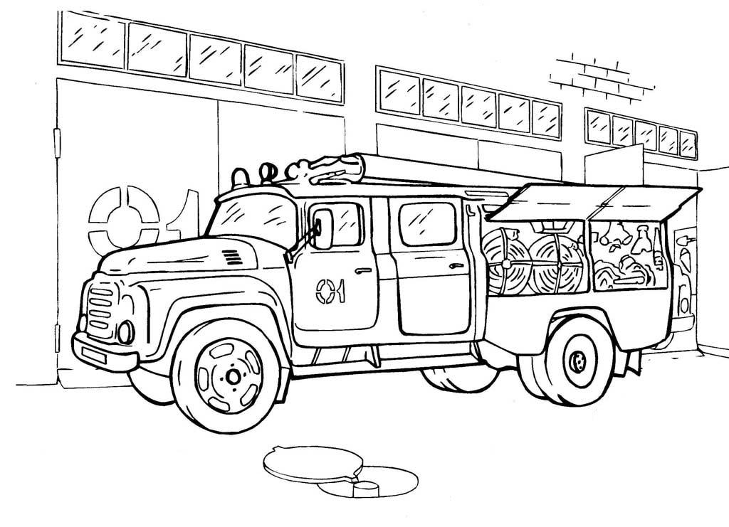 Раскраска Пожарная машина | Машины