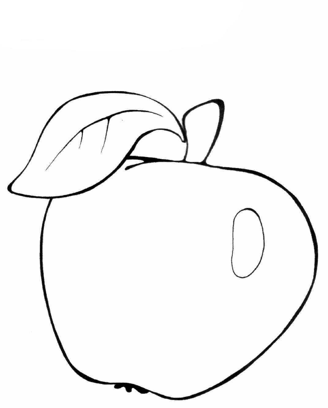 Раскраска яблоко | Овощи и фрукты