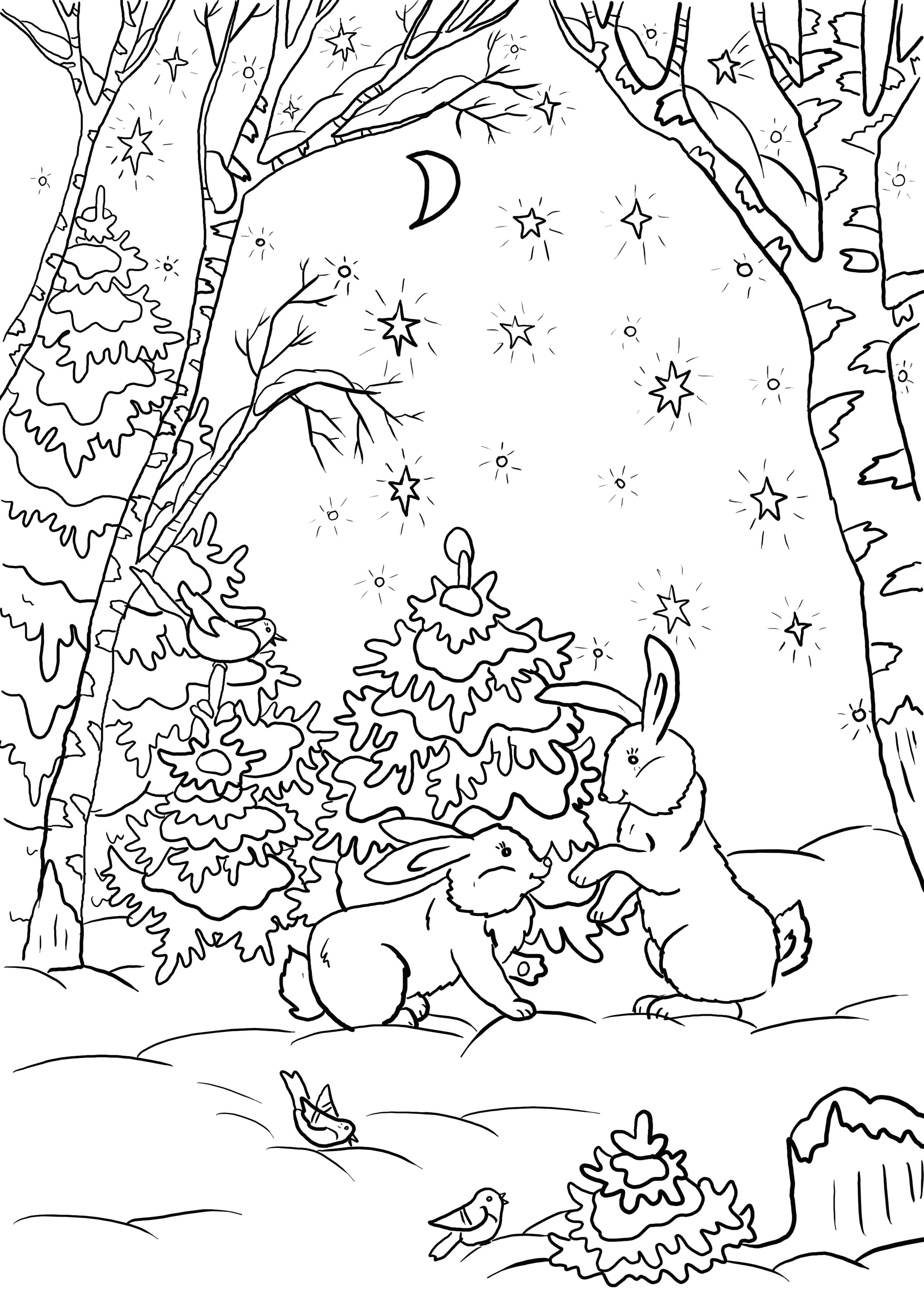 Раскраска Зимний лес | Природа